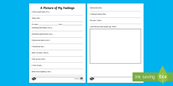 A Picture of My Feelings Writing Worksheet / Activity Sheet - New Zealand, Back to School, About Me, new year, new term