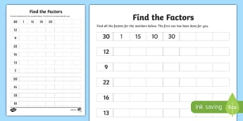 Find the Factors Activity Sheet-Scottish, worksheet