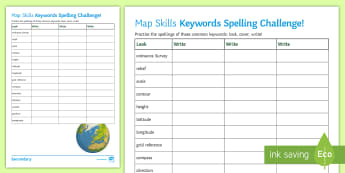 Map Skills Keywords Spelling Challenge Activity Sheet - Map, Skills, Spelling, Contour, Grid reference, Scale, worksheet