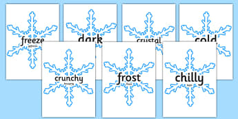 Winter Topic Words on Snowflakes English/German