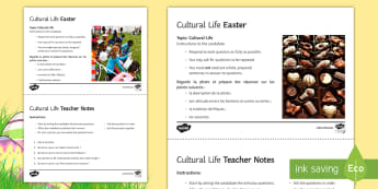 Easter Inference and Question Cards Picture Cards French - KS4, French, Easter, Pâques, higher, stimulus, GCSE, speaking, oral, inference, speaking, practise,