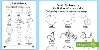 Fruit Dictionary Colouring Page English/French  - Fruit Dictionary Colouring Sheet - colouring sheet, fruit, colour, name fruit