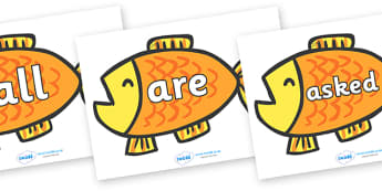 Tricky Words on Goldfish to Support Teaching on Brown Bear, Brown Bear - Tricky words, DfES Letters and Sounds, Letters and sounds, display, words