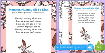 Mummy, Mummy, Oh So Kind Song - Mother's Day, Flowers, mummy mummy oh so king, song, rhyme, lyrics