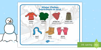 Winter Clothes Word Mat English/Romanian - winter, clothes,wnter, wintre, wordmat, EA, translation, keep warm