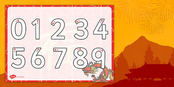 Chinese New Year Themed Number Writing Worksheet - chinese, year
