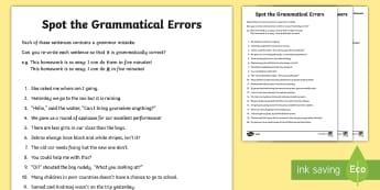 LKS2 Grammatical Consistency Sentence Correction Worksheet