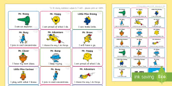 Mr. Men and Little Miss CoEL (Editable) Stickers - Assessment, Early Years, Characteristics Of Effective Learning, CofEL, Mr Men, Prompts, Evidence.