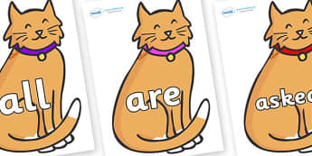 Tricky Words on Pussy Cats - Tricky words, DfES Letters and Sounds, Letters and sounds, display, words