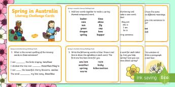 3-4 Spring in Australia Literacy Challenge Cards - literacy, challenge, activity, Spring, Australia, Seasons, Weather,Australia