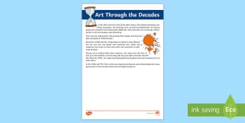 Art Through the Decades Fact File - the arts, art, decades, new Zealand, fact file