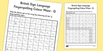 British Sign Language Left Handed Fingerspelling Colour Maze Q