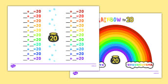 Rainbow Themed Missing Number Bonds to 20 Worksheet / Activity Sheet - rainbow, missing number, bonds, number bonds, 20, activity, worksheet