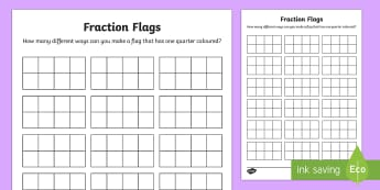 Fraction Flags Maths Mastery Activity Sheets