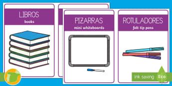 Etiquetas bilingues: El material de la clase - identificación, escolar, ordenar, organización, Spanish-translation