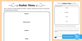 Kosher Menu Go Respond™ Activity Sheet - kosher, food, drink, laws, rules, Judaism, Jewish, Jew, meat, dairy, menu, activity.