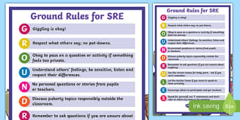 Sex and Relationships Education (SRE) Ground Rules Display Poster - sex education