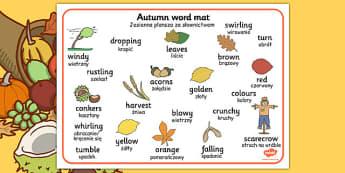 Autumn Word Mats Polish Translation - polish, autumn, word mats