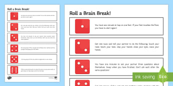 Sensory Break Game Activity Sheet - breaktime, break, time, activity, sen, send, pupils, game, dice, fun