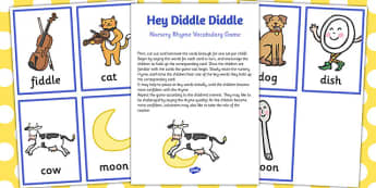 Hey Diddle Diddle Nursery Rhyme Vocabulary Game - nursery rhyme, game