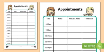 Dentists/Dental Surgery Appointment Sheet - Dentists/Dental Surgery Role Play Pack, appointment form, dentist, dental nurse, checkup, teeth, dental care, dental health, filling, extraction, health, role play, display, poster
