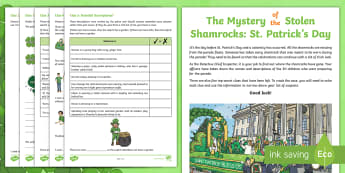 LKS2 The Mystery of the Stolen Shamrocks: St. Patrick's Day SPaG Mystery Problem-Solving Game - Y3, Y4, spelling, punctuation, grammar, spag game, nouns, prefixes, determiner, a or an, vowel, cons