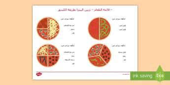 ورقة نشاط - قائمة تزيين البيتزا بطريقة الكسور -  أورقة عمل قائمة الكسور البيتزا، ثلاثة أثلاث وأرباع - ا