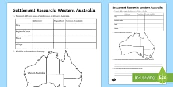 Settlement – Western Australia Research Activity Sheet - ACHASSK069, Year 3, Perth, information, Australian Curriculum, Geography, inquiry, worksheet, lesson