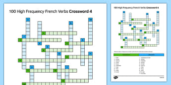 100 High Frequency French Verbs 4 Crossword