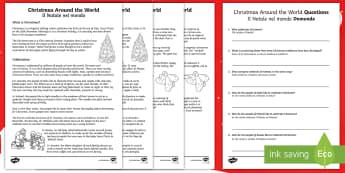 Christmas Around the World Reading Comprehension Activity English/Italian  - father christmas, winter, fetivals, religion, celebration