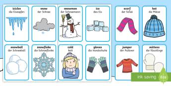 Winter Pairs Matching Cards English/German - games, activities, activity, pair, EAL, German, English-German,,German-translation
