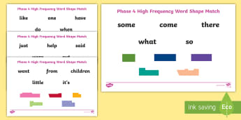 Phase 4 High Frequency Words Shape Match Activity Sheets - Key words, English, Literacy, Dyslexia, Visual discrimination, worksheet