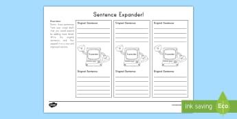 Sentence Expander Worksheet / Activity Sheet - Writing, Revising, Editing, Vocabulary, Tier 1 Vocabulary, Tier 2 Vocabulary, Tier 3 Vocabulary, add