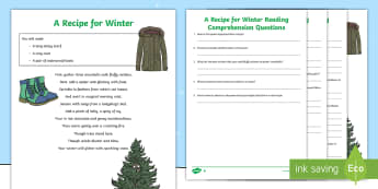 KS2 A Recipe for Winter Poem Differentiated Activity Sheet - Christmas, Poem, Poetry, Alliteration, Instructions, Holidays, Winter, comprehension