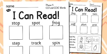 I Can Read Phase 4 CCV and CCVC Words Activity Sheet - read, worksheet