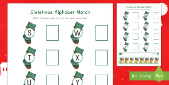Christmas Alphabet S-Z Matching  Activity Sheet - Letter Recognition, Alphabet Recognition, Cutting Skills, Christmastime, Lowercase, Uppercase, Lower
