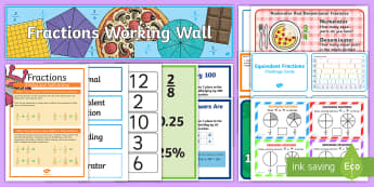 LKS2 Fractions Working Wall Display Pack - maths display pack, fractions topic, equivalent fractions, adding fractions, fractions of quantities