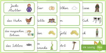 Jack und die Bohnenranke Wort- und Bildkarten  - Jack und die Bohnenranke, Jack und die Bohnenstange, Hans und die Bohnenstange, Hans und die Bohnenr