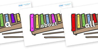 100 High Frequency Words on Glockenspiels - High frequency words, hfw, DfES Letters and Sounds, Letters and Sounds, display words