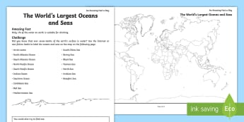 The World's Largest Oceans and Seas Activity Sheet - ocean, sea, around the world's oceans, august, water around the world, pacific, worksheet, atlantic