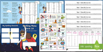 Year 1 Superhero Themed Spelling Menu Pack - Spag, Weekly, Lists, Gps, Home Learning