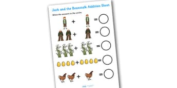 Jack and the Beanstalk Addition Sheet - jack and the beanstalk, addition sheet, addition, jack and the beanstalk addition sheet, worksheet