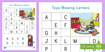 Toys Missing Letters Worksheet / Activity Sheet - Alphabet Recognition,  Letter Recognition, Pre-K, Cutting and pasting, hand eye coordination, small