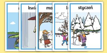 Plakaty Miesiące roku - pogoda, miesiące, miesiąc, rok, pory, pora, roku, styczeń, luty, marzec, kwiecień, maj, czerwiec