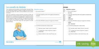 Healthy Living: Quick Finishers Differentiated Reading Activity Sheets French - french, comprehension, health, santé, kS4, practice,,French