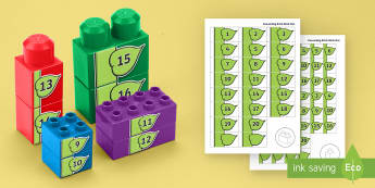 Number Beanstalk to 20 Connecting Bricks Game - EYFS, Early Years, KS1, Connecting Bricks Resources, duplo, lego, plastic bricks, building bricks, l