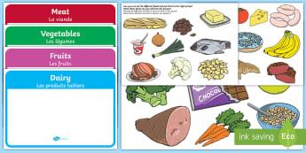 Food Groups Sorting Activity Activity English/French - Food Sorting,food groups, matching cards, sorting cards, cards, flashcards, grouping, dairy, vegetab