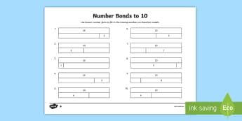 Bar Modelling Number Bonds to 10 Differentiated Activity Sheet Pack - bar model, bar modelling, number bonds to 10, worksheet