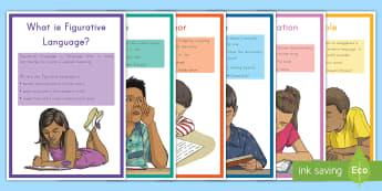 Figurative Language Display Posters - Simile, Metaphor, English, Personification, Hyperbole, idiom