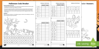 KS2 Halloween Code Breaker Activity Sheets - halloween maths, fractions, multiply by 10, multiply by 100, divide by 10, divide by 100, times tabl